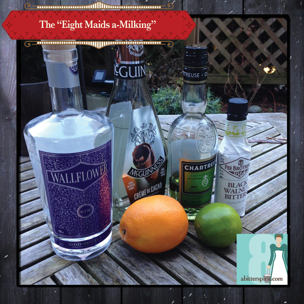 The 'Eight Maids a-Milking' Cocktail Ingredients - ABitterSpirit.com